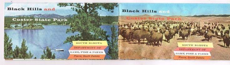 South dakota map black hills custer state park 1960 39 s vtg for South dakota game fish