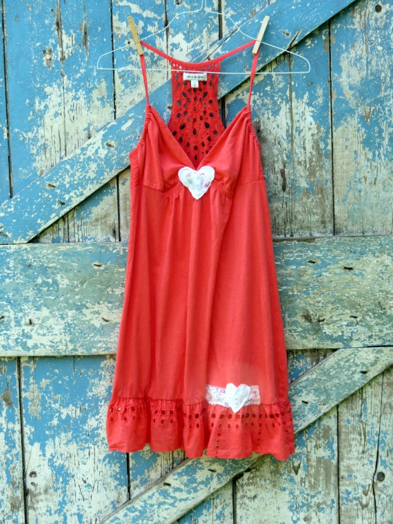 Caught in Love on Coral Sundress/ upcycled eyelet beach cover up/eco friendly orange with eyelet. $27.99, via Etsy.