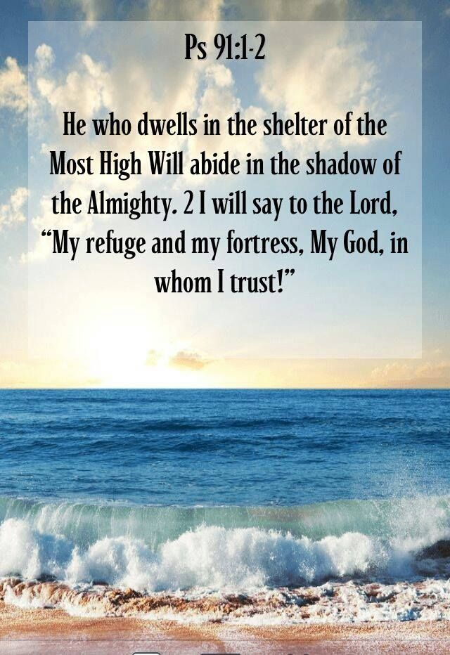 """""""He who dwells in the secret place of the Most High Shall abide under the shadow of the Almighty. I will say of the LORD, """"He is my refuge and my fortress; My God, in Him I will trust."""" Psalms 91:1-2 NKJV"""