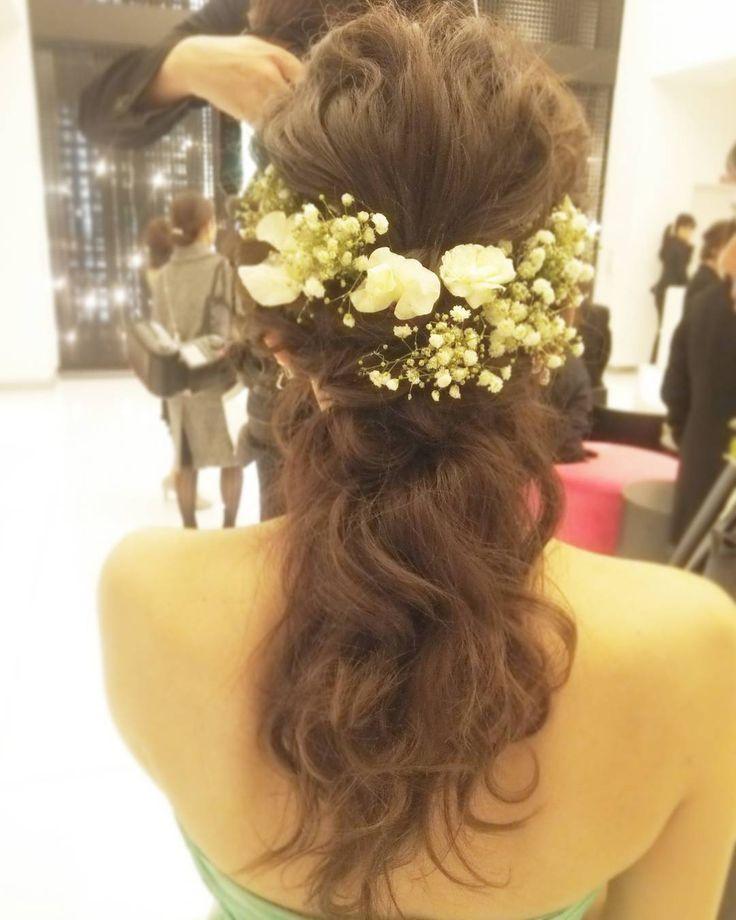 「#ヘアアレンジ#ヘアセット#ヘア#ブライダルヘア #ヘアスタイル#ウェディング#ブライダル#かすみ草 #hairdo #hair#wedding#bridal#Instagram#hairarrange#花嫁#プレ花嫁#お色直し#アレンジ#ヘアメイク」