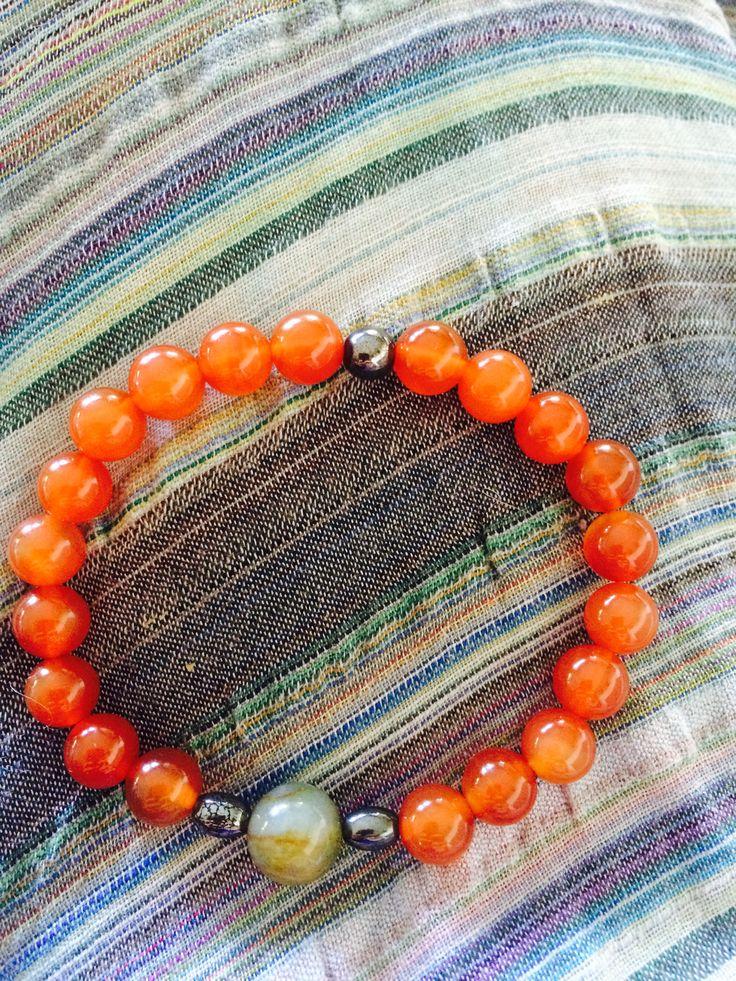 Carnelian, Hemaitt & Jasper Handmade meditation mala bracelet Prosperity and good luck.