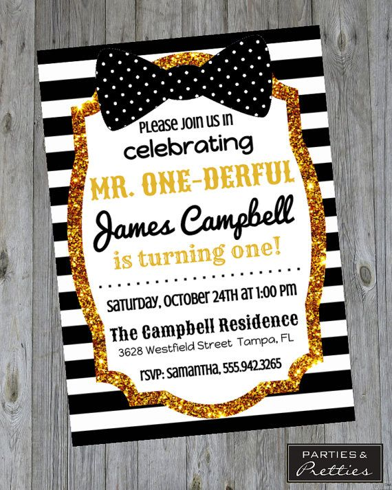 First Birthday Invitation - Mr. One-Derful - Black and Gold - Bow Tie - Boy's Birthday Party