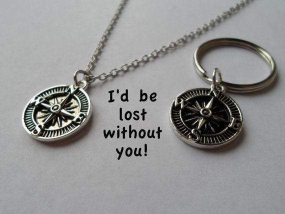 Couple Keychain, Compass Key Ring, Husband Wife Set, Girlfriend Boyfriend, I'd be lost without you! Monogram Initial Necklace 20 24 30 inch