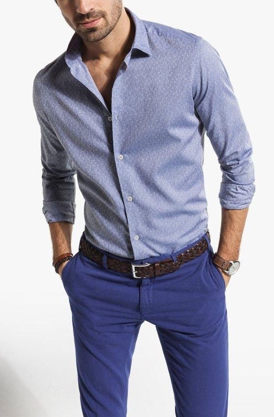 Die: Blue Chinos + Brown Braided Belt + Lightblue Simple Shirt + Nons