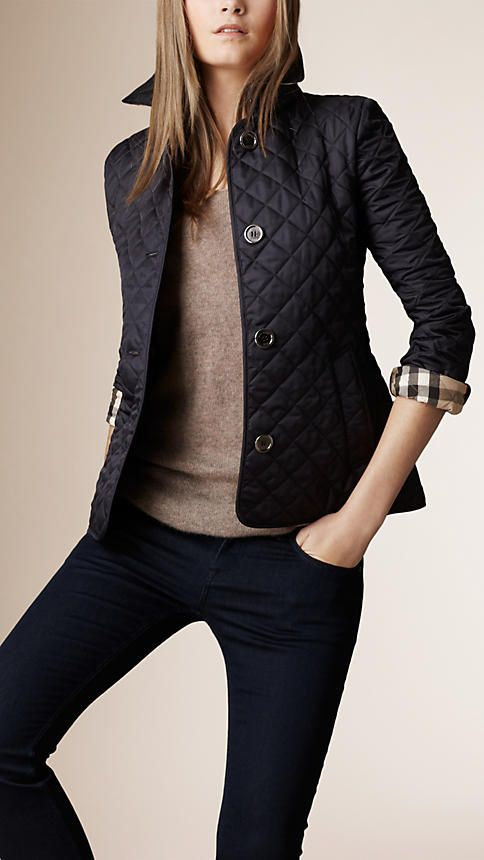 Navy Diamond Quilted Jacket - Image 1