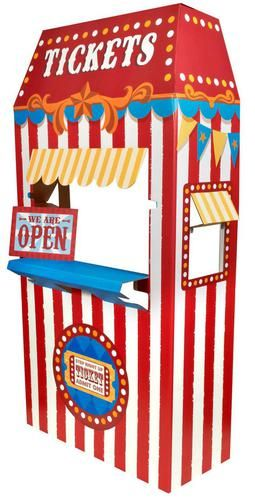 "This Ticket Booth Cardboard Stand will be a fun accent to your carnival themed party! The cardboard stand measures 66.75""""H x 30.75""""W x 13.5""""D. Some assembly required. Standard ground shipping only."