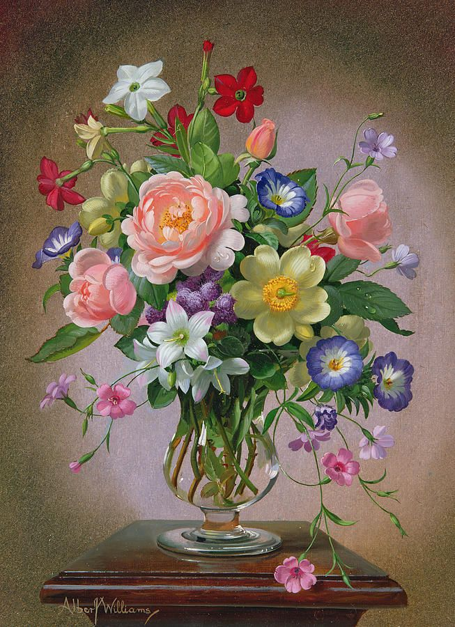 Roses Peonies And Freesias In A Glass Vase Painting  - Roses Peonies And Freesias In A Glass Vase Fine Art Print