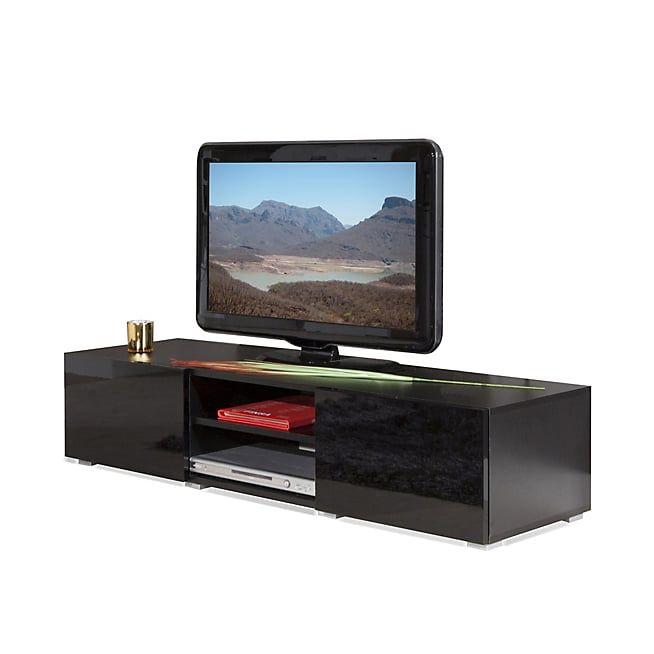 Mino Meuble TV noir laqué 2 tiroirs 1 niche simple L140cm