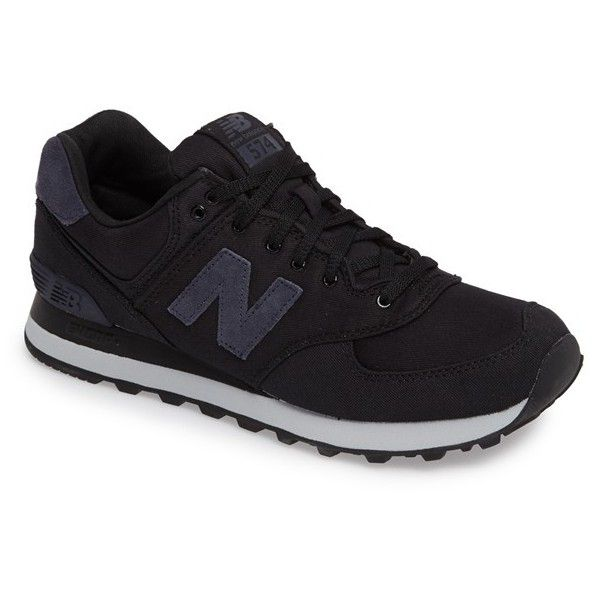 Men's New Balance 574 Sneaker (8835 RSD) ❤ liked on Polyvore featuring men's fashion, men's shoes, men's sneakers, black, mens black sneakers, mens sneakers, mens retro sneakers, new balance mens sneakers and mens black shoes