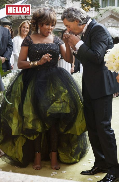 After 27 yr. relationship, Tina Turner, 74 wed German music prod. Erwin Bach in July 2013, Lake Zurich, Switzerland.  She requested her female guests where white and males black tie, Tina stood out in green taffeta & black silk tulle.