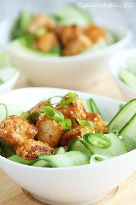 Chili-tofu en komkommer met misodressing - Plantaardigheidjes