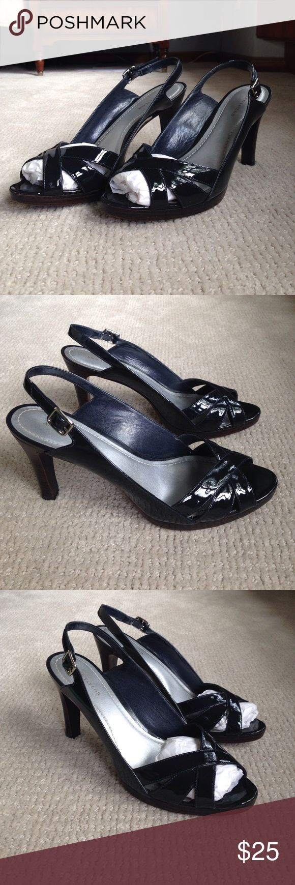 """Sz 9 Navy patent peep toe heel EUC. Ann Taylor navy patent peep toe heel.  Small platform bottom and criss cross detail on toe.  Comfortable shoe, fits a bit wider than most, but is not a """"wide"""" size. Ann Taylor Shoes Heels"""