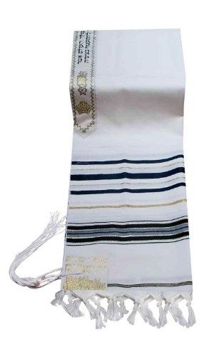 """100% Wool Tallit Prayer Shawl in Black and Gold Stripes Size 18"""" L X 72"""" W $53.50"""