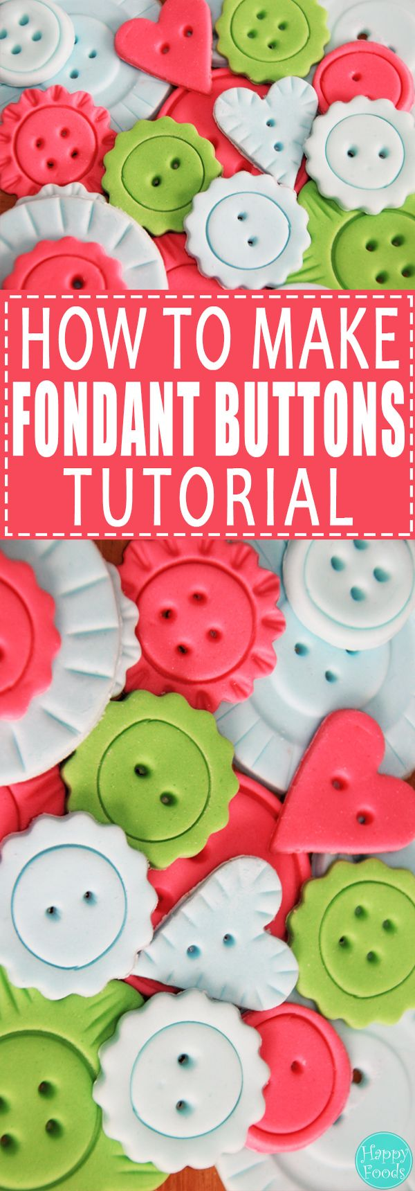 How to Make Fondant Buttons - Easy cake decorating tutorial! | happyfoodstube.com