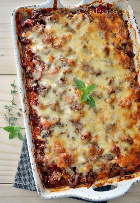 Lasaña de calabacita (sin pasta, sin carbohidratos, sin gluten) | http://www.pizcadesabor.com/2013/08/23/lasana-de-calabacita-sin-pasta-sin-carbohidratos-sin-gluten/