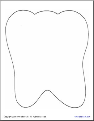 Shapebook: Tooth - Trace and cut out this outline of a molar for a great shapebook.