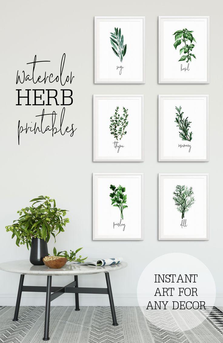 Herb Prints For Kitchen Watercolor Herb Prints Farmhouse