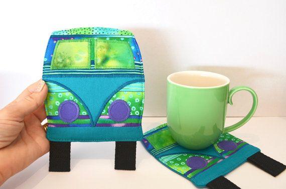 Quirky coaster retro mug rug teacher gift by RobynFayeDesigns