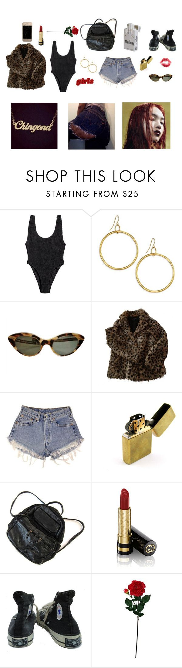 """""""#72 chingona"""" by bbygirrrl ❤ liked on Polyvore featuring H&M, Elizabeth and James, Maje, Levi's, Zippo, Gucci, Converse, Laura Cole, gold and black"""