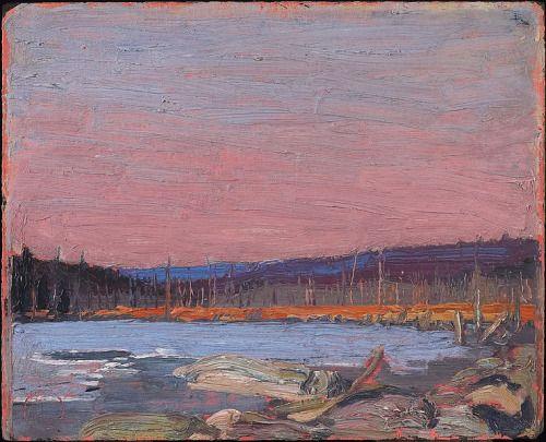 A Northern Lake - Tom Thomson , 1916 Canadian, 1877-1917 oil on composite wood-pulp board , 26.7 x 21.6 cm Musée des beaux-arts de l'Ontario