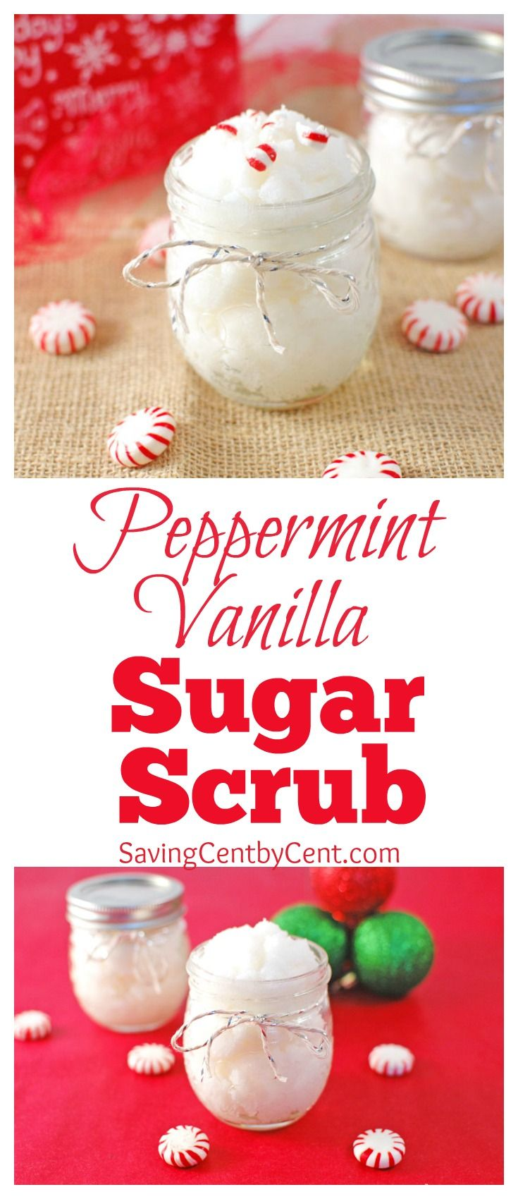 This Peppermint Vanilla Sugar Scrub is a thoughtful and nice gift to give to neighbors and friends for the holidays. And it's less expensive than purchasing a sugar scrub at the store.