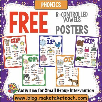 Visual cues often help our young readers learn phonics rules. These free r-controlled vowels can be posted in your classroom or within your small group intervention area.Enjoy! JulieYou may enjoy these other Make, Take & Teach r-controlled vowel activities:Write It Phonics Cards for R-Controlled VowelsClip The R-Controlled VowelTee It Up For R-Controlled VowelsIf you like this product, consider following Make, Take & Teach:Make, Take and Teach BlogMake, Take and Teach on PinterestMa...