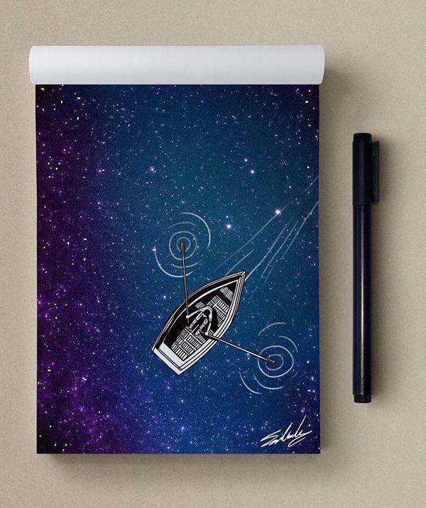 Faraway - Stars Themed Illustrations by Muhammed Salah  <3 <3