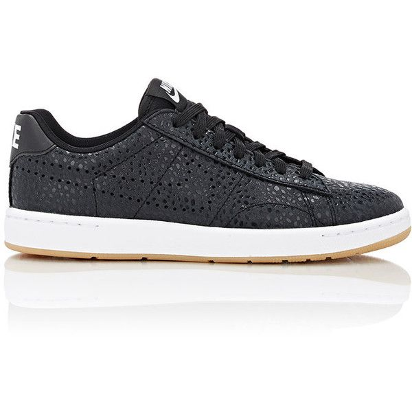 Nike Tennis Classic Ultra Premium Sneakers (1,020 EGP) ❤ liked on Polyvore featuring shoes, sneakers, black, nike sneakers, perforated leather sneakers, black leather shoes, black shoes and black flat shoes