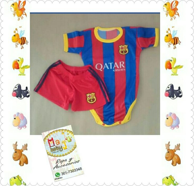 Mameluco de Barcelona, personalizalo con el nombre y número de tu bebé, disponibilidad todas las tallas