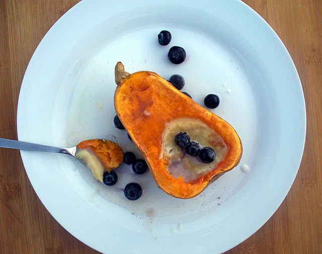 baked squash with coconut cream
