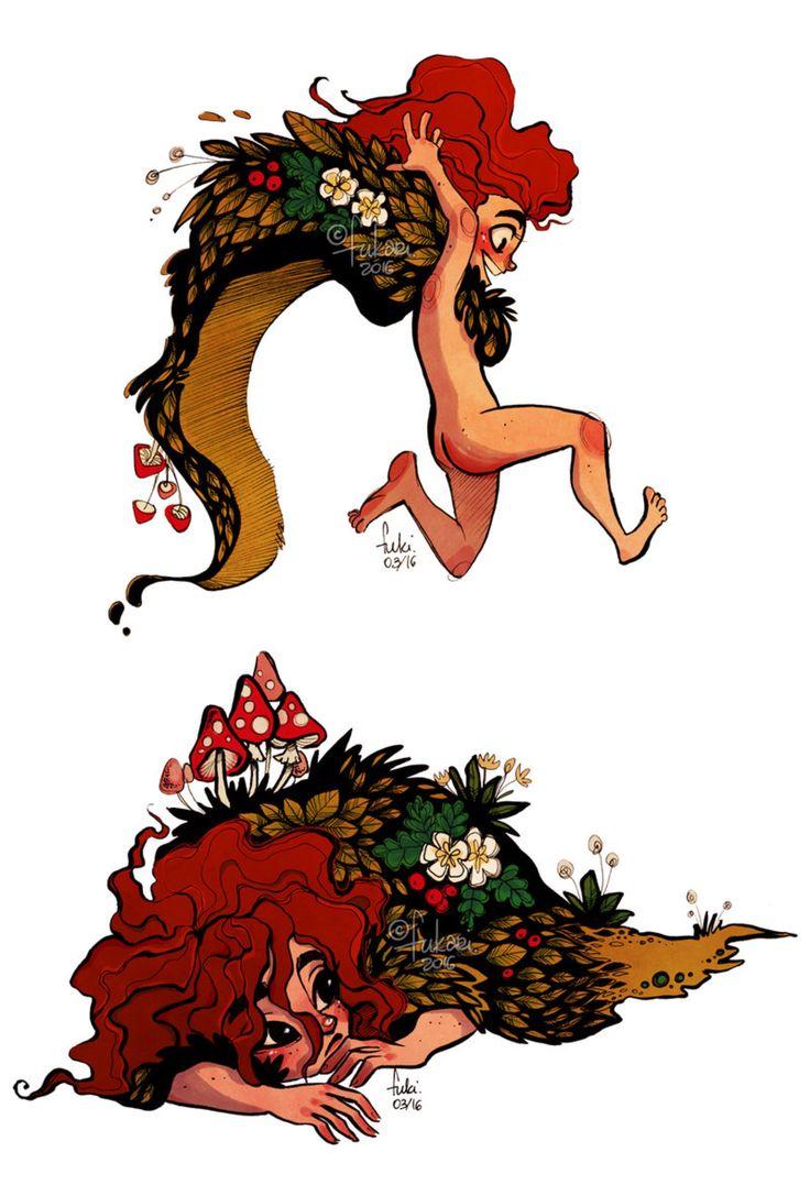 forest girl doodles by Fukari on @DeviantArt