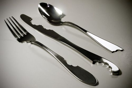 Bite silverware by Mark Reigelman II (designed to help raise awareness of worldwide epidemics of starvation AND obesity)