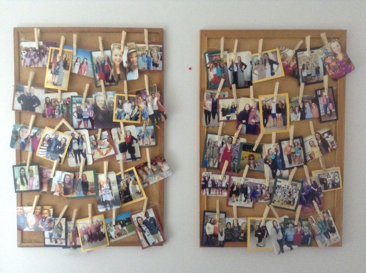 Picture bulletin board  -bulletin board -rope looking string from dollar store -tacks -clothespins