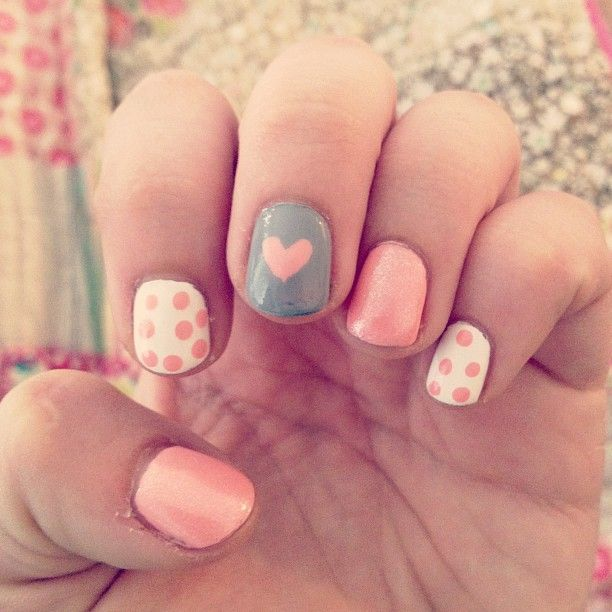 pink & grey nails