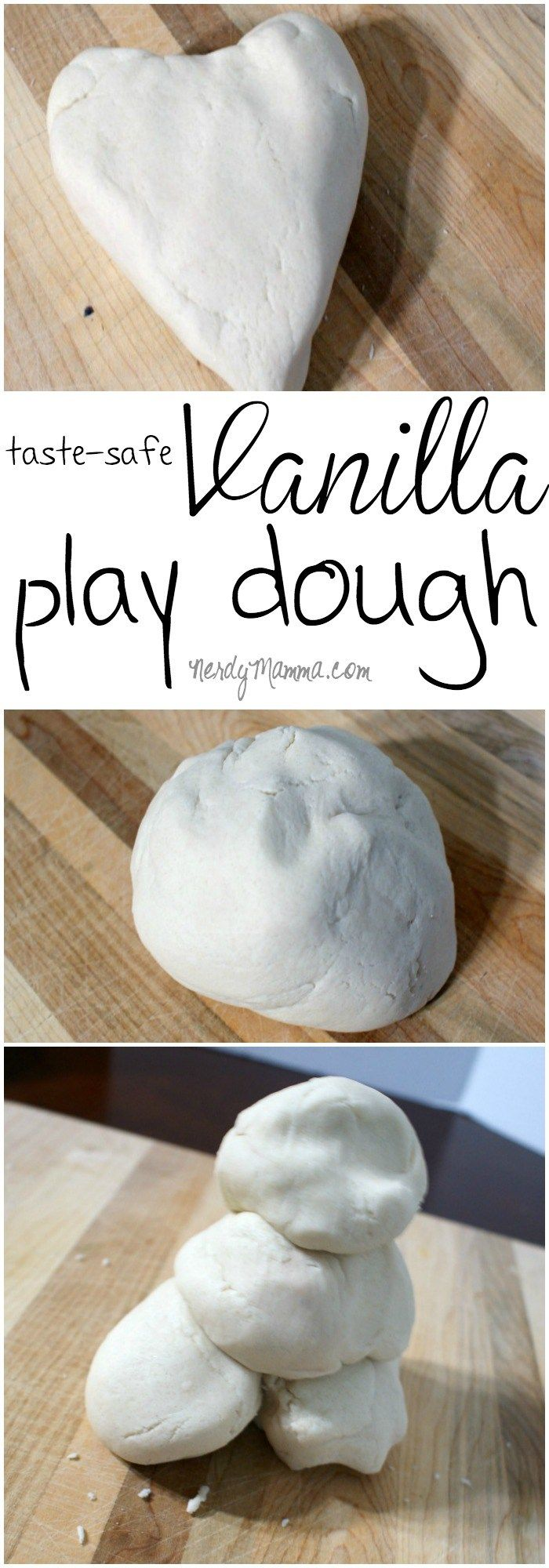 This recipe for taste-safe vanilla play dough is so ridiculously yummy smelling. I think it smells just like a nice cookie dough I want to EAT! LOL!