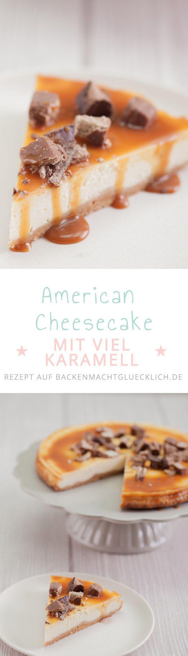Caramel Cheesecake: Dieser American Cheesecake ist nicht nur wunderbar cremig; der Käsekuchen fällt garantiert nicht ein und wird durch das Karamell-Schoko-Topping zu einem ganz besonderen Genuss (Baking Desserts Brownies)