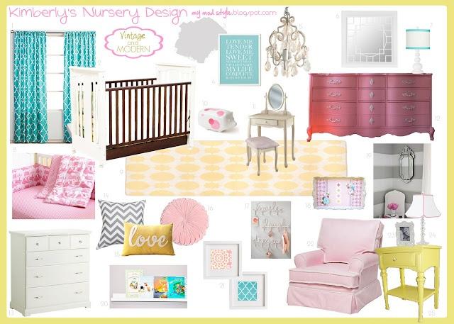 pink yellow and aqua nursery ideasMod Style, Design Boards, Custom Nurseries, Kids Room, Inspiration Boards, Colors Schemes, Modern Nurseries, Nurseries Art, Vintage Modern