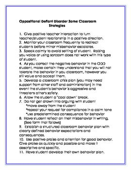 IDENTIFYING AND MANAGING OPPOSITIONAL DEFIANT DISORDER IN THE CLASSROOM - TeachersPayTeachers.com