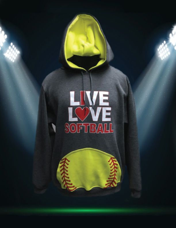 Live Love Softball. Our gray/ neon green custom softball sweatshirt perfect for athletes, teams, coaches, parents, siblings, and everyone in the stands!