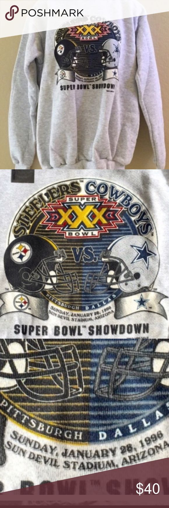 NWT! 1996 Super Bowl Steelers v Cowboys Sweatshirt Super Bowl XXX. Size Youth Large. Still has sticker on it. Never worn. Date and location has some shadowing. See 3rd pic Vintage Shirts & Tops Sweatshirts & Hoodies