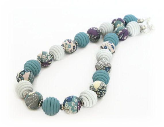 Beaded Fabric Necklace  Liberty of London Print  by Lottieoflondon