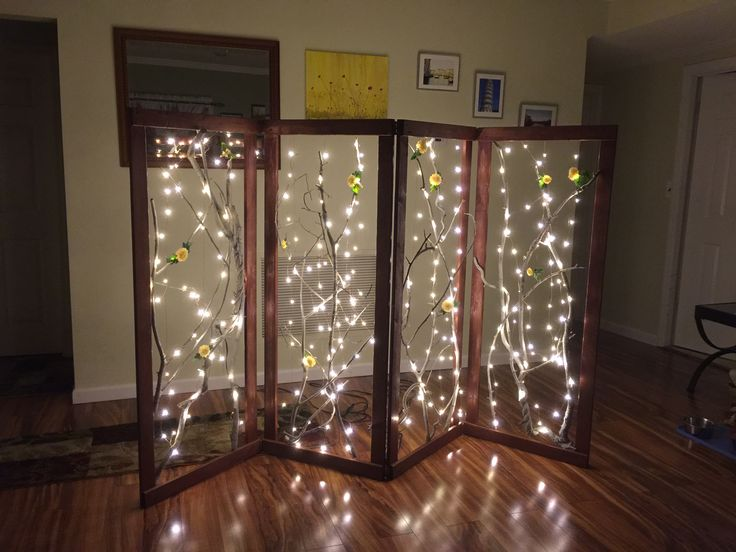 Custom room divider with LED copper wired lighting.