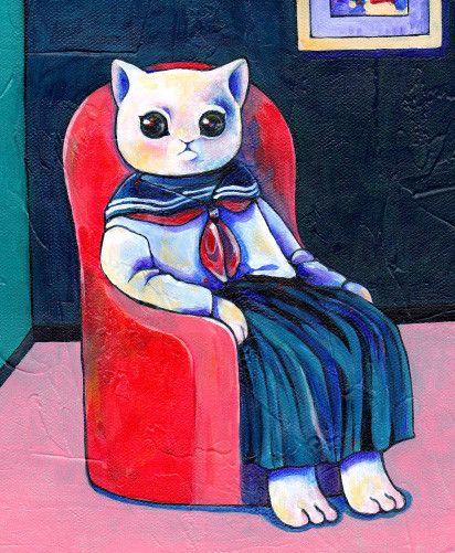 赤いソファーに、セーラー服を着た猫が座っています。こちらを見つめる瞳は、一体何を訴えかけているのでしょうか?●画材:カットキャンバスにアクリルガッシュ●凹凸の...|ハンドメイド、手作り、手仕事品の通販・販売・購入ならCreema。