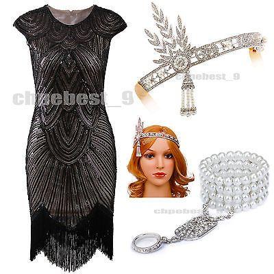 1920s Flapper Dress Great Gatsby Sequins Beads Fringe Art Deco Custume Plus Size