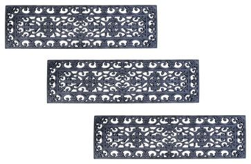 Fleur De Lys Stair Tread Recycled Rubber Doormat (Set of 3 mats) contemporary-stair-tread-rugs