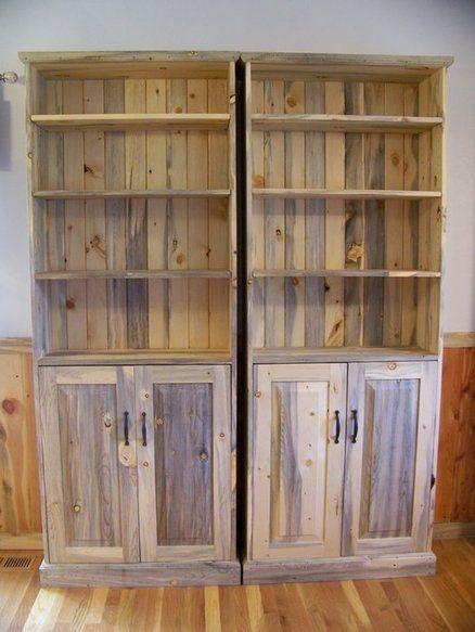 Beetle Kill Pine Bookcase & Storage Cabinet | Basement ...