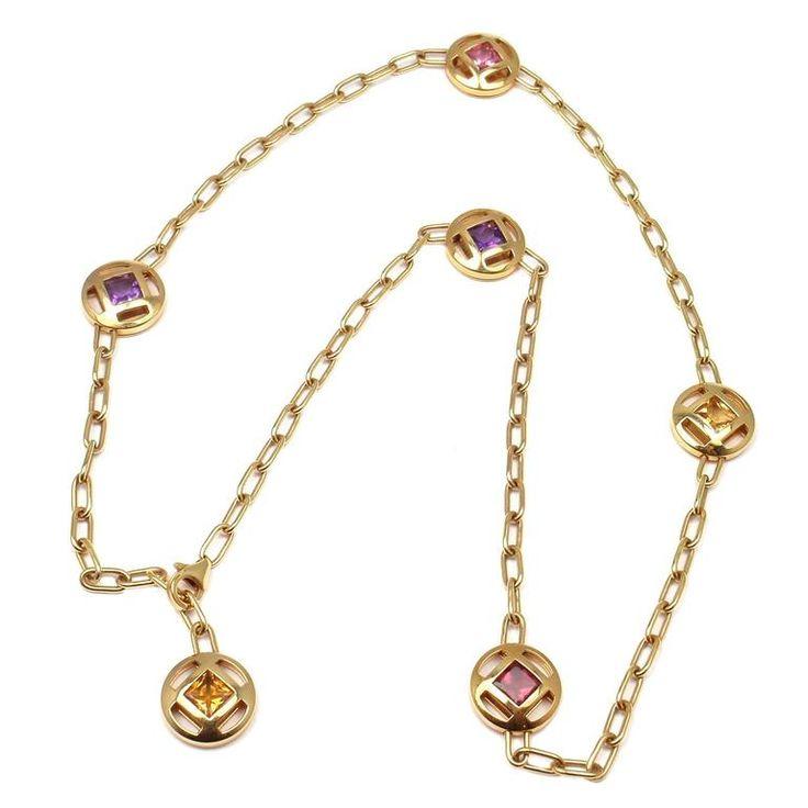Cartier Pasha Sapphire Amethyst Citrine Tourmaline Gold Necklace 1