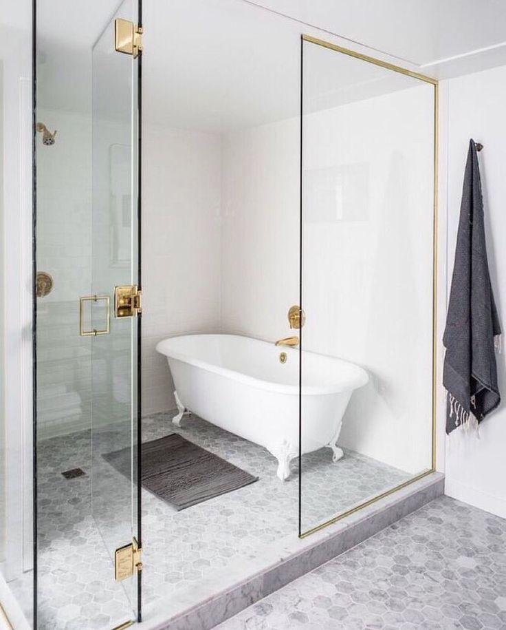 Modern Bathroom Gray And White Bathroom Glass Shower Claw
