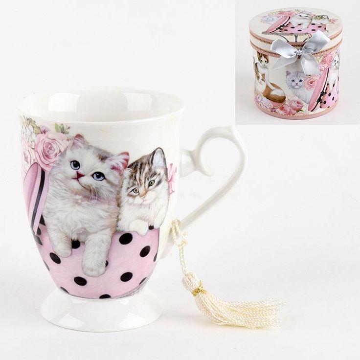 Cute porcelain #mug with #kitties! www.inart.com