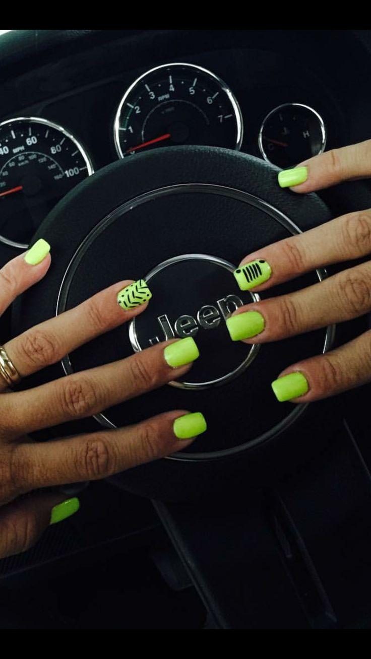 Jeep logo and tracks nail art